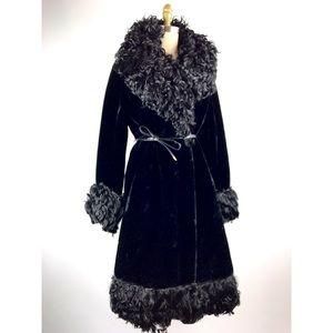 1960s black curly goat hair trimmed long shag coat